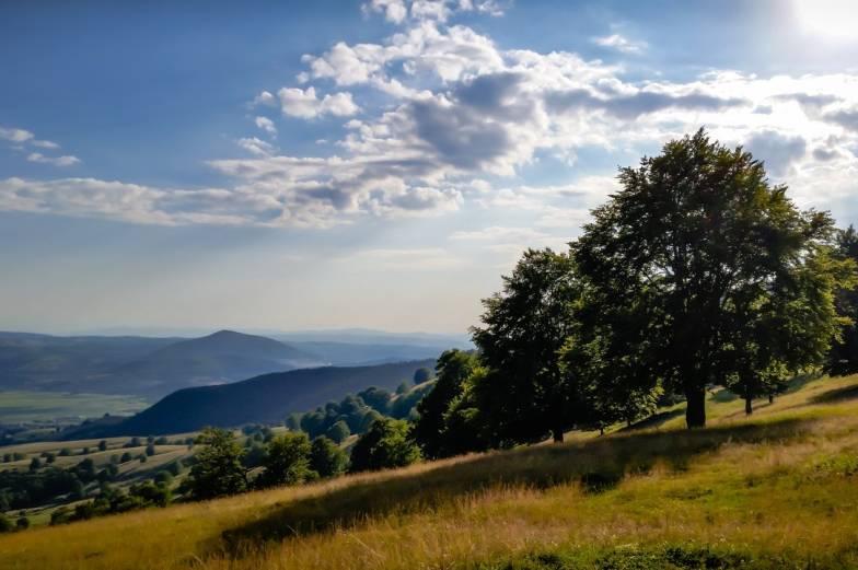 sun, hills & trees landscape