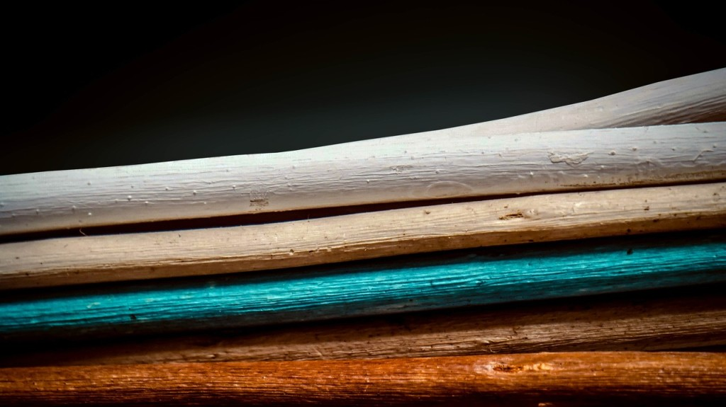 cyan color wood sticks